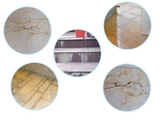 一、为什么产生石材病变? 在人们的观念中,往往认为石材是一种长效的高档装饰材料,采用石材装饰便可一劳永逸,其实不然,在自然环境中,尘埃、废气、酸雨、冰冻以及其他的污染物质,对建筑上所使用的石材极易造成褪色、污染甚至破坏,大大降低了石材的装饰效果和使用寿命,同时,由于施工方法的失误,也会造成石材装饰效果的失败,从而不得不在短期内对建筑物重新进行装修,造成了人力物力的大量浪费。 二、石材的病症有哪些? 一类病症:常见的石材病症主要有:水斑不干、盐析泛碱(白华)、锈斑吐黄、霜冻破坏、表面腐蚀、色素污染(包括油污